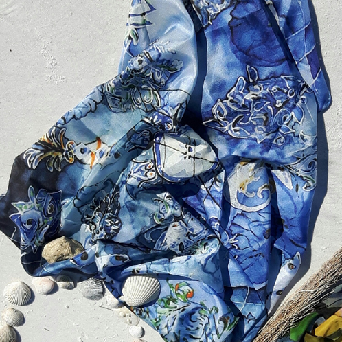 Honeymoon Island silk scarf
